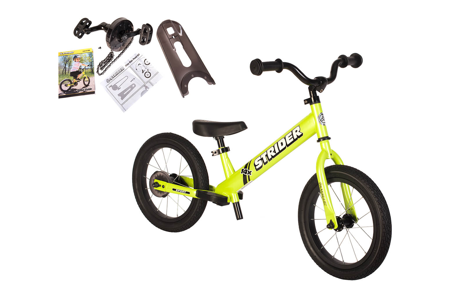 Strider 14x Sport - Green with Easy-Ride Pedal Conversion Kit