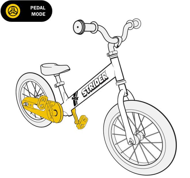 illustration Strider 14x balance bike easy ride pedal conversion kit