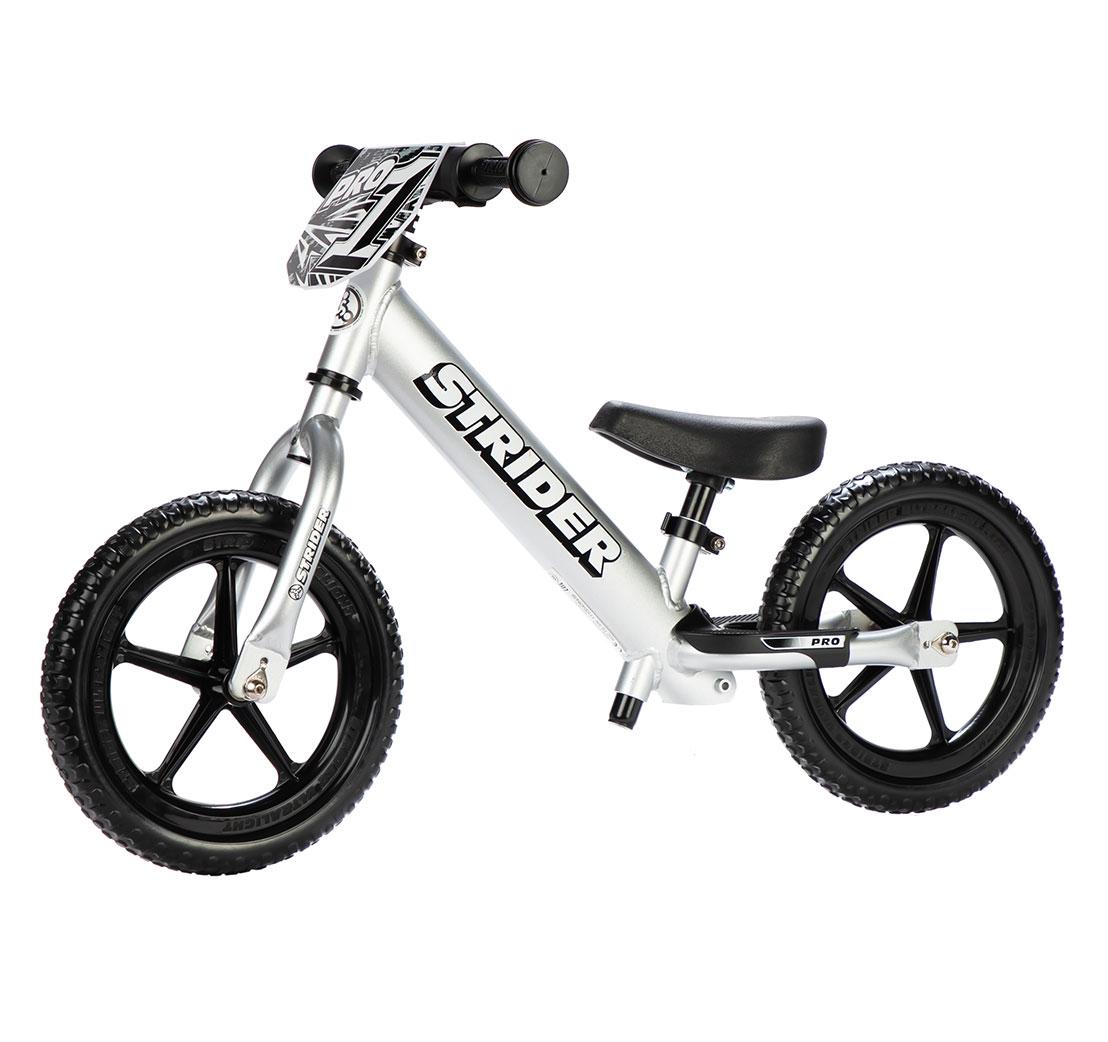 strider 12 pro balance bike silver
