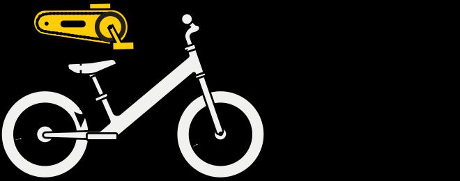 Strider 14x balance bike pedal kit illustration