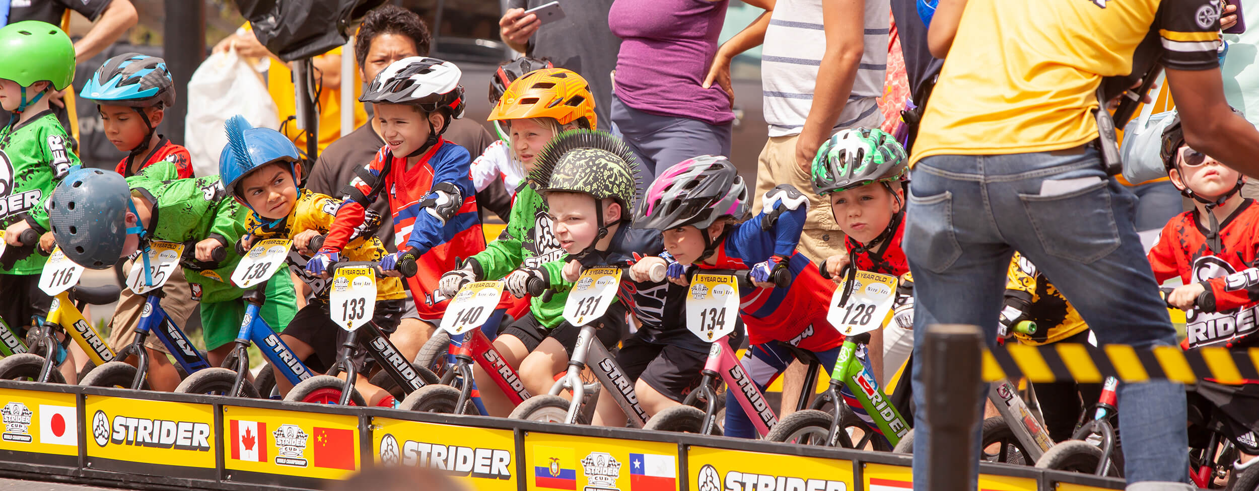 kids line up at Strider Cup race