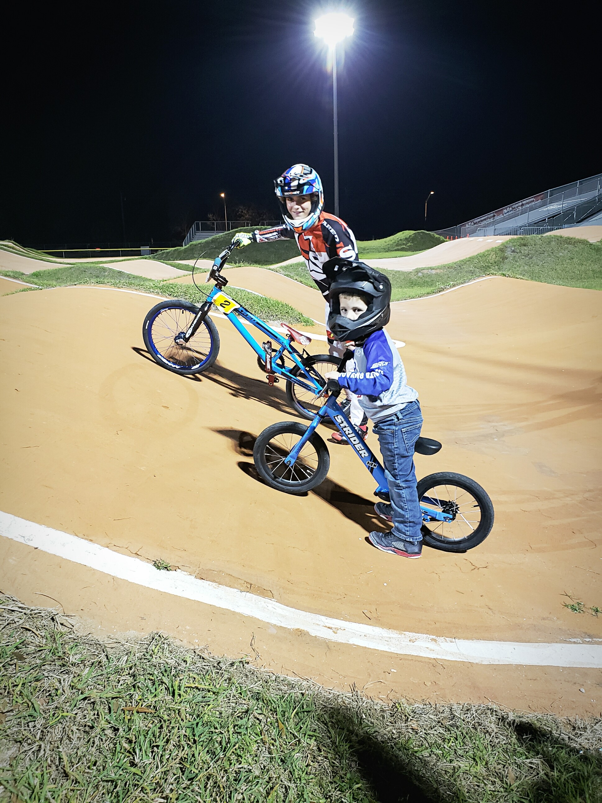Ryan on his Strider at the Racetrack