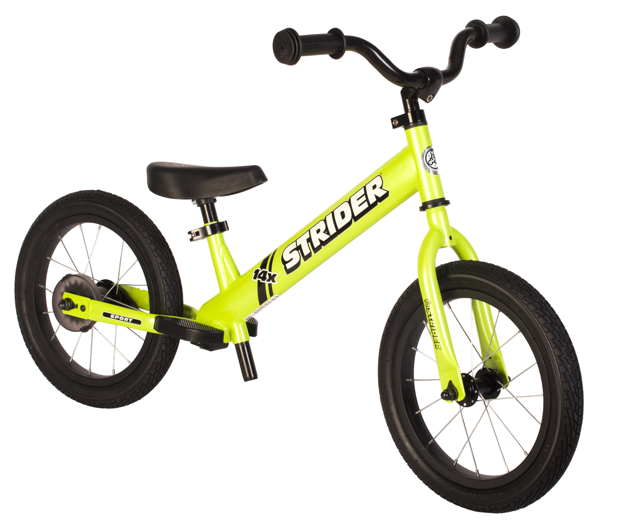 Studio image of green 14x Sport balance bike - angled view