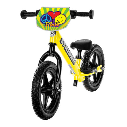 Peace, Love, and Happiness Double Down Charity Strider Yellow Sport Balance Bike