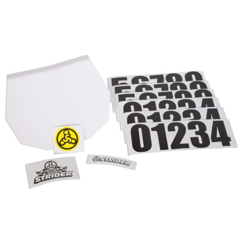 Studio image of Strider number plate and stickers