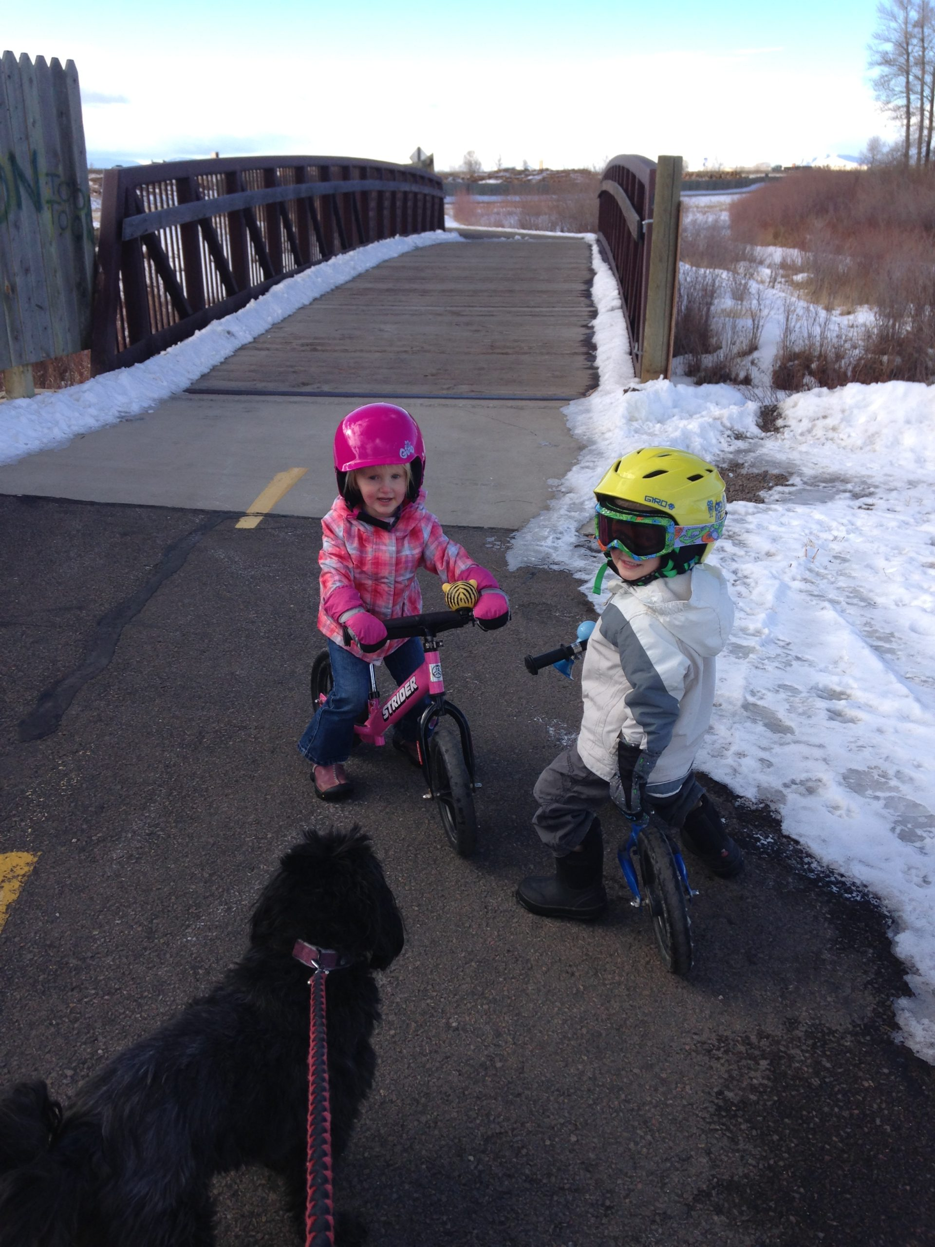 little girl on pink Strider Bike and little boy on blue Strider Bike